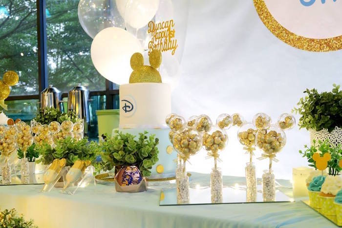 Dessert tablescape from a Blue & Gold Mickey Mouse Birthday Party on Kara's Party Ideas | KarasPartyIdeas.com (11)