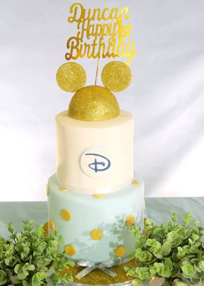 Mickey Mouse Cake from a Blue & Gold Mickey Mouse Birthday Party on Kara's Party Ideas | KarasPartyIdeas.com (9)