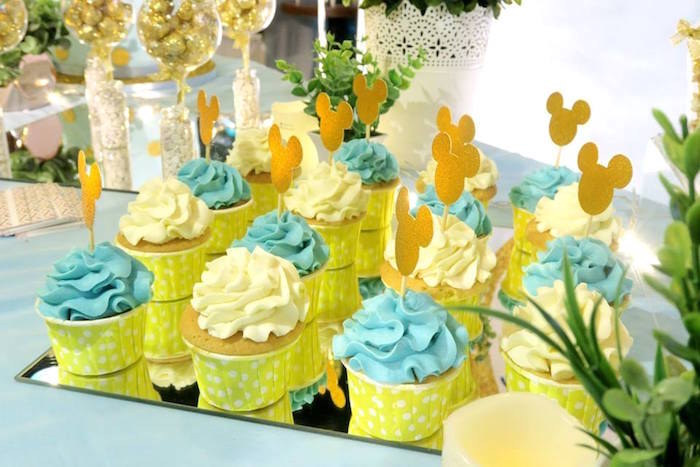 Cupcakes from a Blue & Gold Mickey Mouse Birthday Party on Kara's Party Ideas | KarasPartyIdeas.com (8)