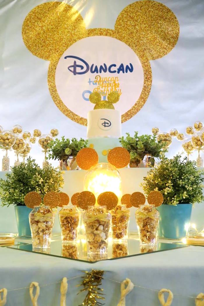 Cake table from a Blue & Gold Mickey Mouse Birthday Party on Kara's Party Ideas | KarasPartyIdeas.com (6)