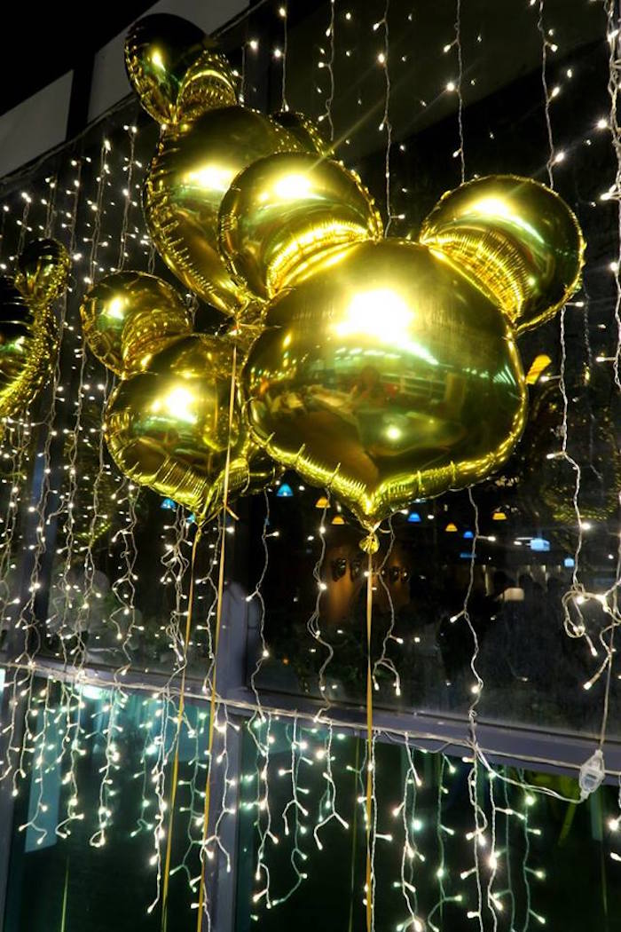 Balloons and twinkle lights from a Blue & Gold Mickey Mouse Birthday Party on Kara's Party Ideas | KarasPartyIdeas.com (20)