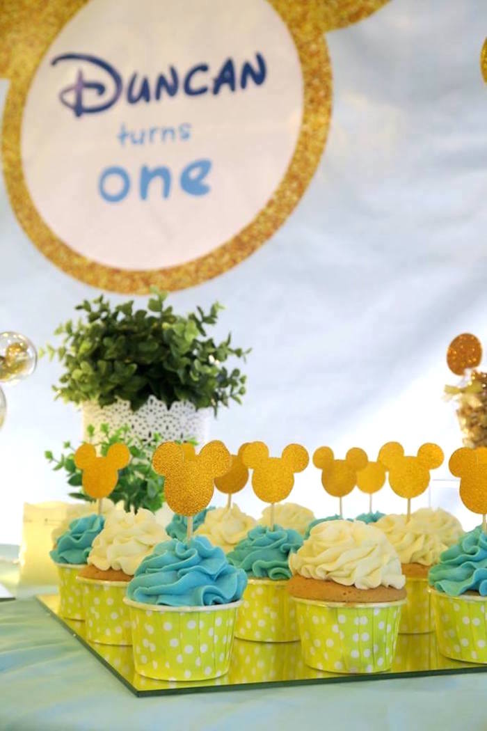 Cupcakes from a Blue & Gold Mickey Mouse Birthday Party on Kara's Party Ideas | KarasPartyIdeas.com (19)