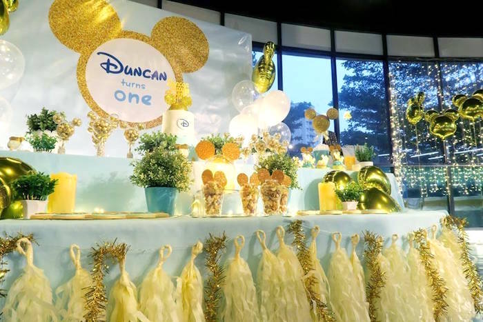 Dessert table from a Blue & Gold Mickey Mouse Birthday Party on Kara's Party Ideas | KarasPartyIdeas.com (18)