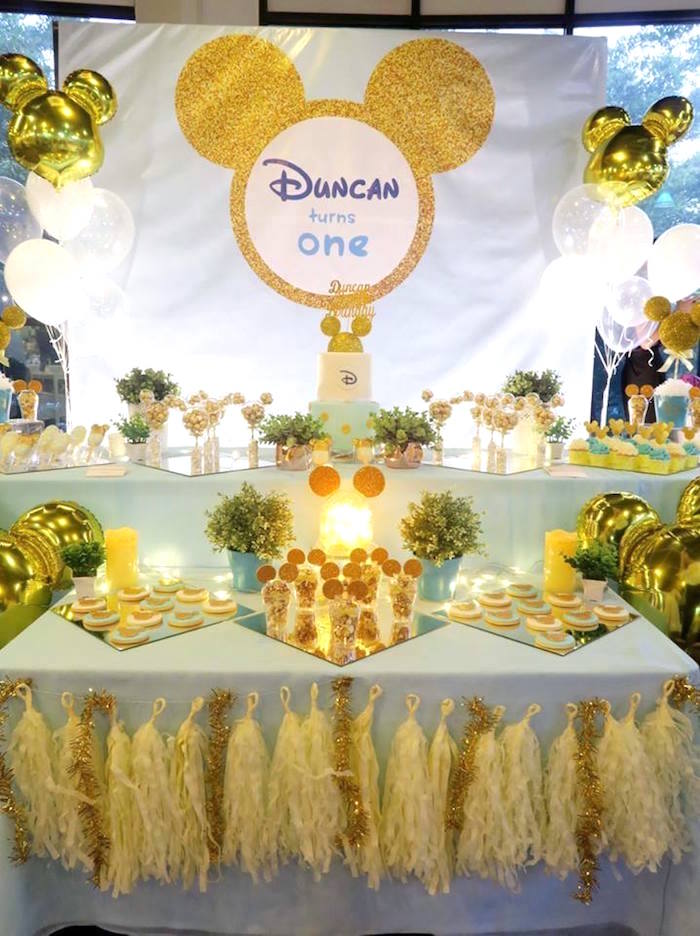 kara u0026 39 s party ideas blue  u0026 gold mickey mouse birthday party