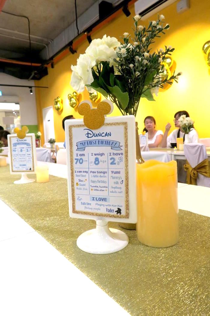 Highlight board signage + centerpiece from a Blue & Gold Mickey Mouse Birthday Party on Kara's Party Ideas | KarasPartyIdeas.com (16)