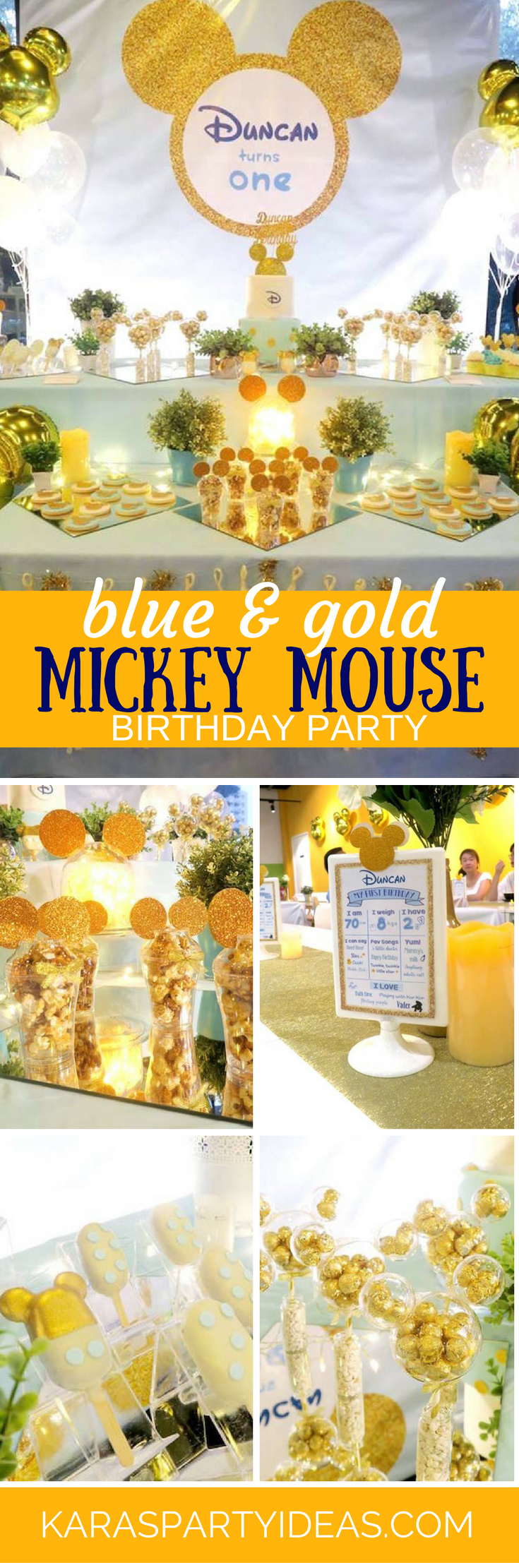 Blue and Gold Mickey Mouse Birthday Party via Kara's Party Ideas - KarasPartyIdeas.com