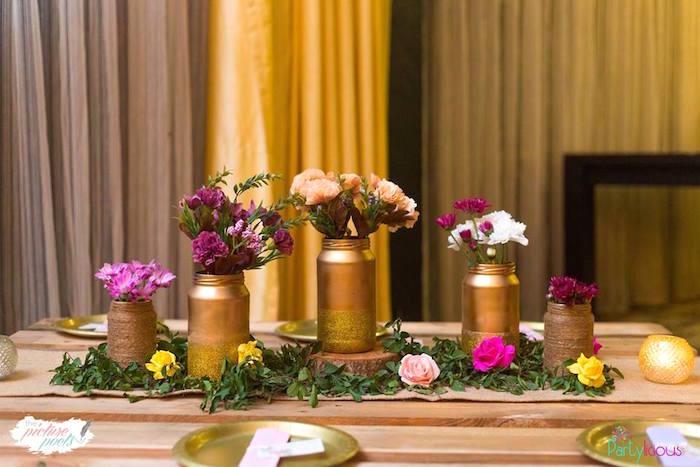 Guest table floral arrangements + decor from a Bohemian Coachella Birthday Party on Kara's Party Ideas | KarasPartyIdeas.com (42)