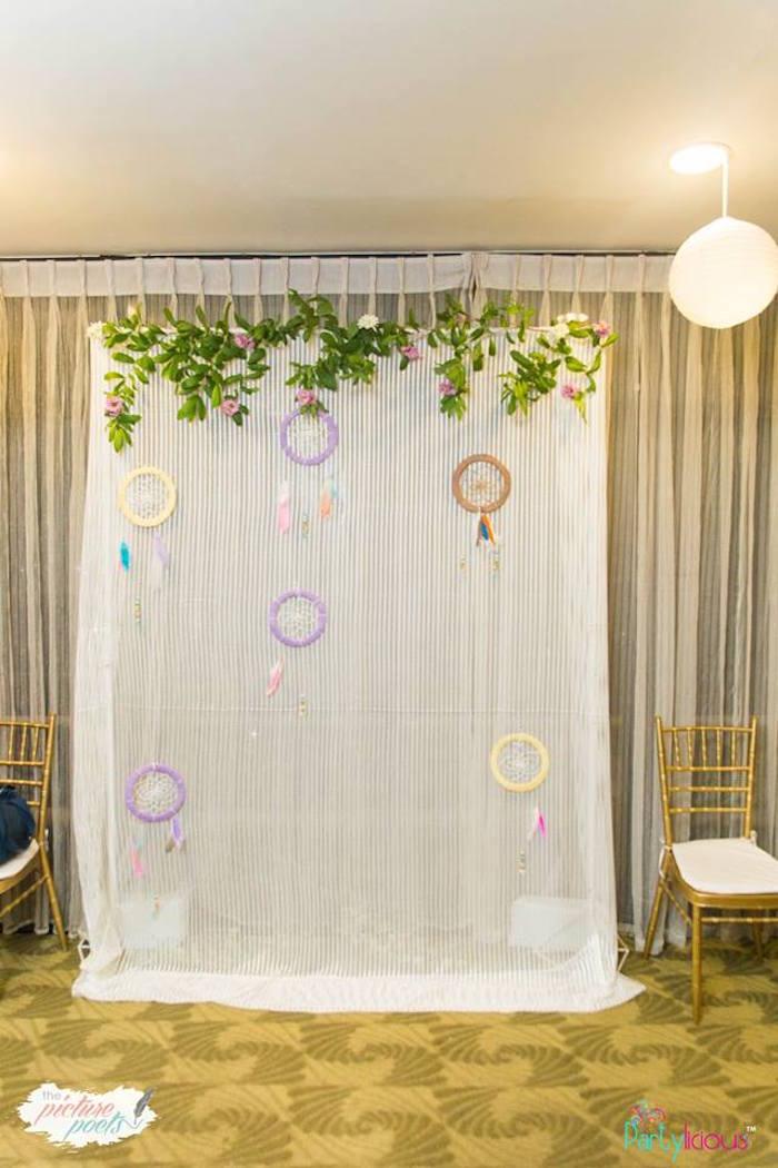 Dreamcatcher photo booth from a Bohemian Coachella Birthday Party on Kara's Party Ideas | KarasPartyIdeas.com (39)