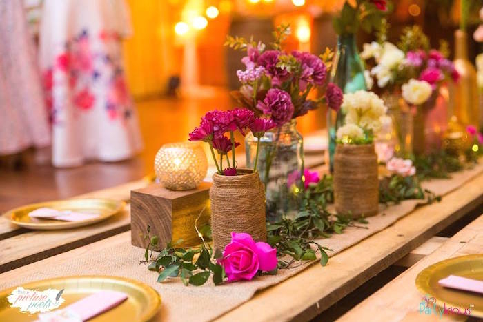 Twine wrapped bottle & floral vase from a Bohemian Coachella Birthday Party on Kara's Party Ideas | KarasPartyIdeas.com (37)