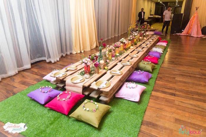 Wood pallet boho guest table from a Bohemian Coachella Birthday Party on Kara's Party Ideas | KarasPartyIdeas.com (35)