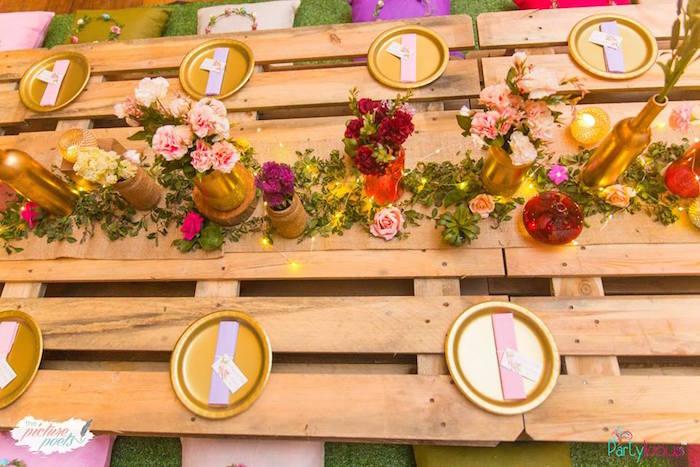 Wood pallet guest tabletop from a Bohemian Coachella Birthday Party on Kara's Party Ideas | KarasPartyIdeas.com (52)
