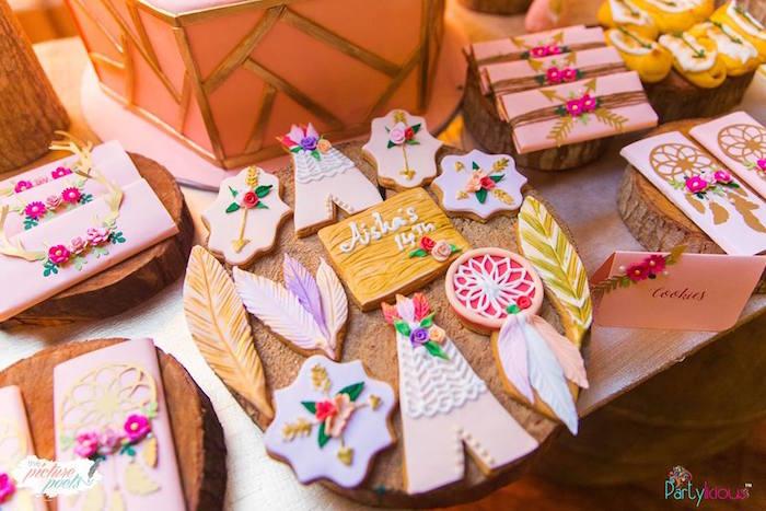 Cookies from a Bohemian Coachella Birthday Party on Kara's Party Ideas | KarasPartyIdeas.com (31)