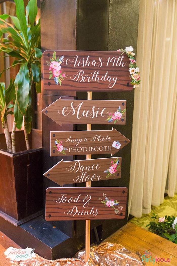 Boho Directional Sign from a Bohemian Coachella Birthday Party on Kara's Party Ideas | KarasPartyIdeas.com (29)