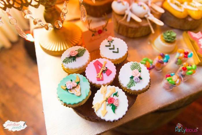 Cupcakes from a Bohemian Coachella Birthday Party on Kara's Party Ideas | KarasPartyIdeas.com (22)