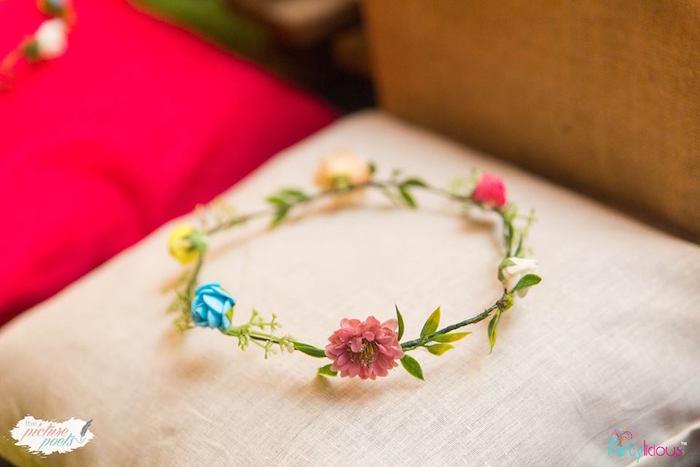 Floral crown from a Bohemian Coachella Birthday Party on Kara's Party Ideas | KarasPartyIdeas.com (17)