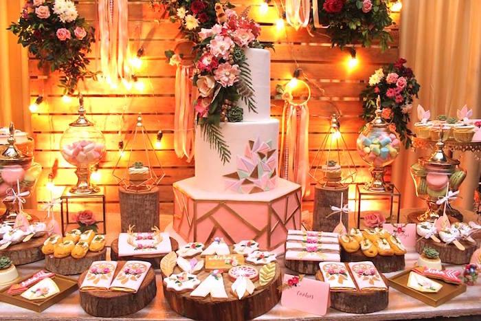 Dessert tablescape from a Bohemian Coachella Birthday Party on Kara's Party Ideas | KarasPartyIdeas.com (14)