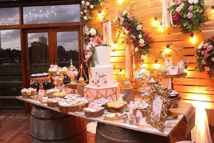 Sweet table from a Bohemian Coachella Birthday Party on Kara's Party Ideas | KarasPartyIdeas.com (50)