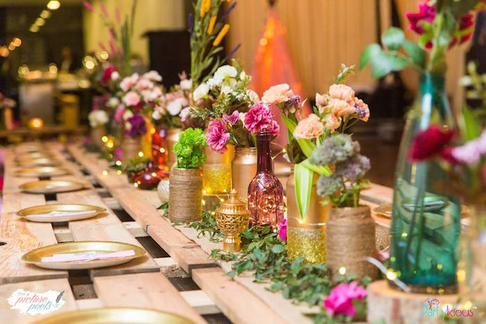 Guest table decor + center from a Bohemian Coachella Birthday Party on Kara's Party Ideas | KarasPartyIdeas.com (45)