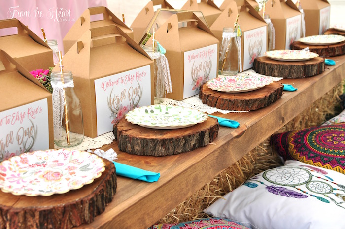 Boho place settings + guest tablescape from a Boho Dream 1st Birthday Party on Kara's Party Ideas | KarasPartyIdeas.com (24)