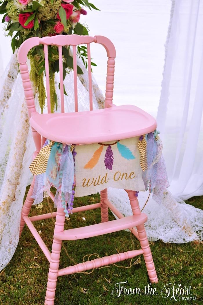 Boho high chair from a Boho Dream 1st Birthday Party on Kara's Party Ideas | KarasPartyIdeas.com (17)