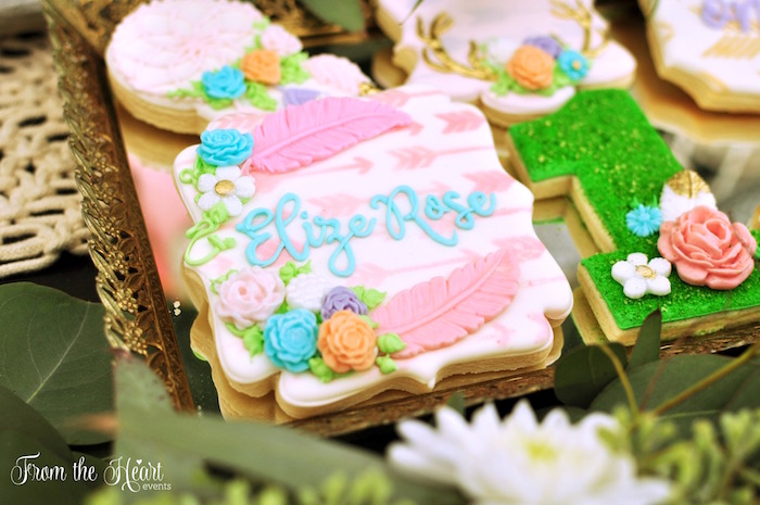 Personalized bohemian sugar cookie from a Boho Dream 1st Birthday Party on Kara's Party Ideas | KarasPartyIdeas.com (16)