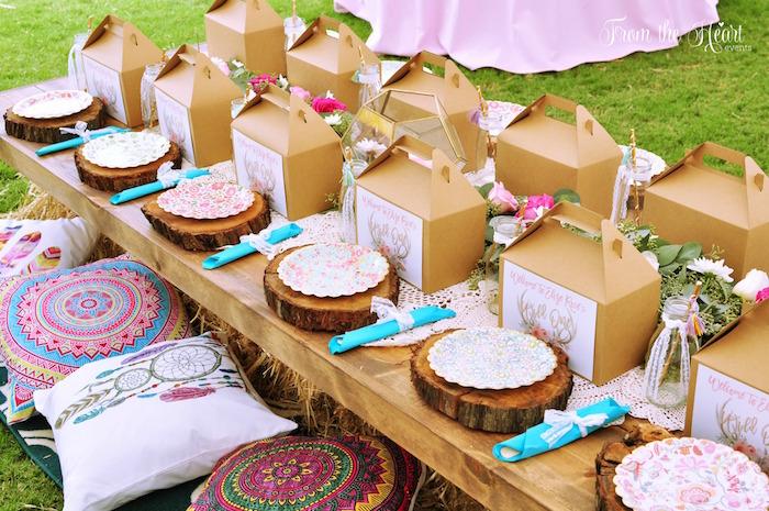 Guest table from a Boho Dream 1st Birthday Party on Kara's Party Ideas | KarasPartyIdeas.com (15)