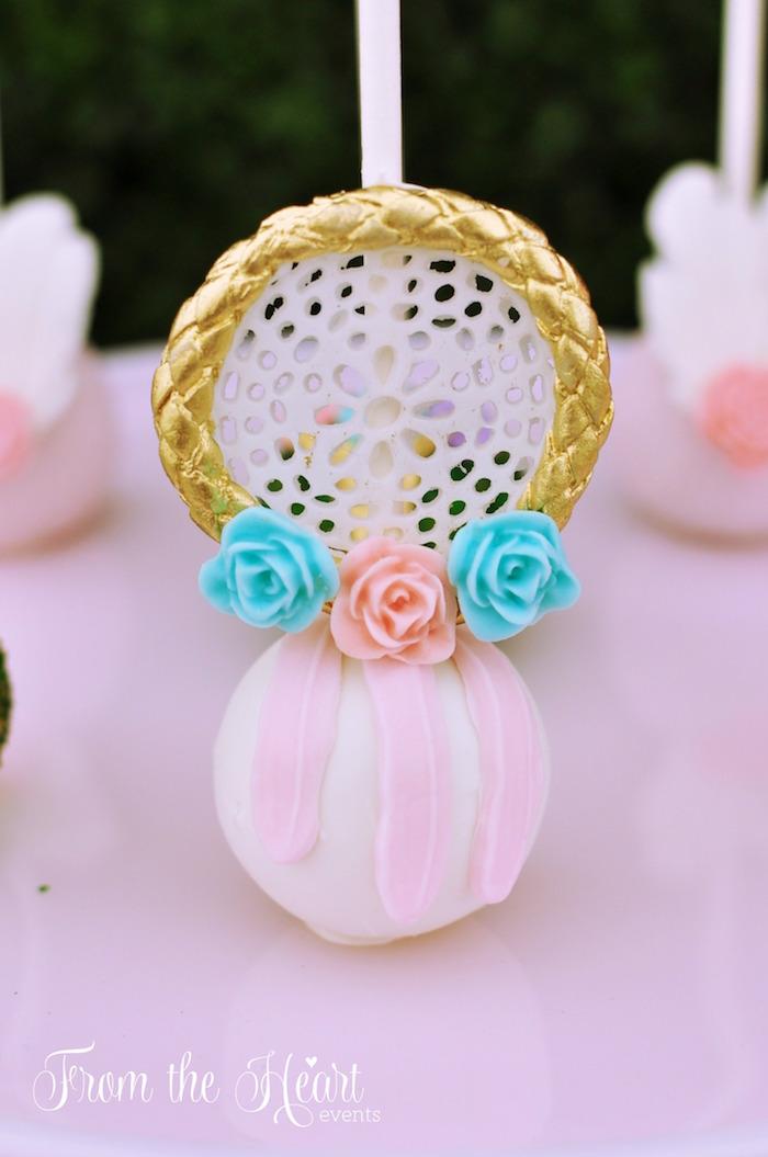Dreamcatcher cake pop from a Boho Dream 1st Birthday Party on Kara's Party Ideas | KarasPartyIdeas.com (14)