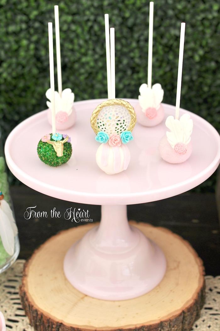 Boho cake pops from a Boho Dream 1st Birthday Party on Kara's Party Ideas | KarasPartyIdeas.com (37)