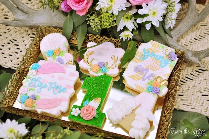 Boho cookies from a Boho Dream 1st Birthday Party on Kara's Party Ideas | KarasPartyIdeas.com (9)