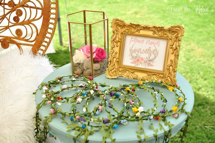 Floral crowns from a Boho Dream 1st Birthday Party on Kara's Party Ideas | KarasPartyIdeas.com (32)