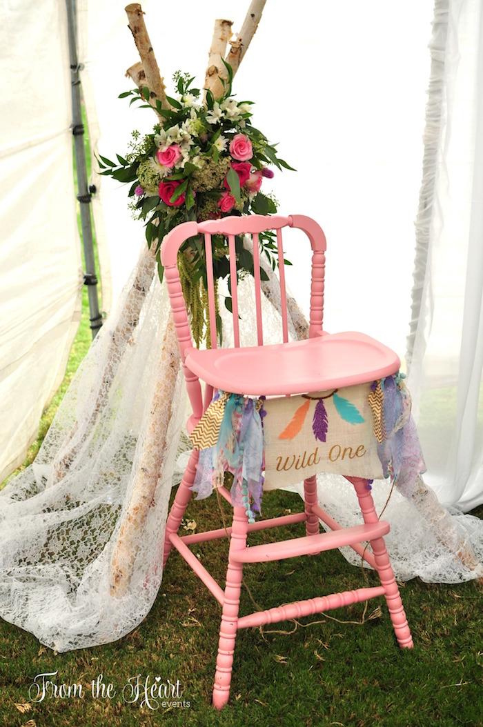 Boho high chairscape from a Boho Dream 1st Birthday Party on Kara's Party Ideas | KarasPartyIdeas.com (30)