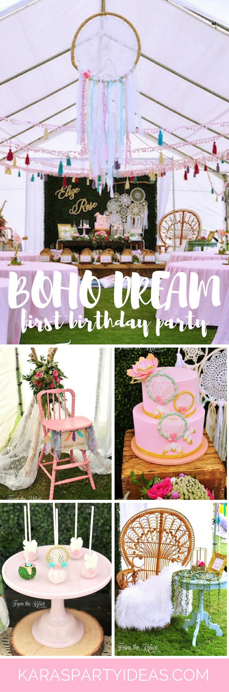 Boho Dream 1st Birthday Party via Kara's Party Ideas - KarasPartyIdeas.com