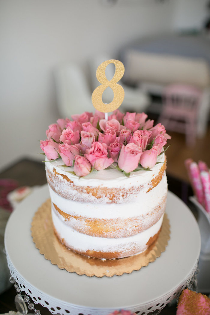 Rose-topped semi-naked cake from a Chic Fall Garden Tea Party on Kara's Party Ideas   KarasPartyIdeas.com (24)