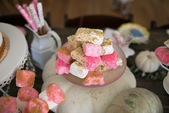 Rice Krispie Treats from a Chic Fall Garden Tea Party on Kara's Party Ideas   KarasPartyIdeas.com (23)