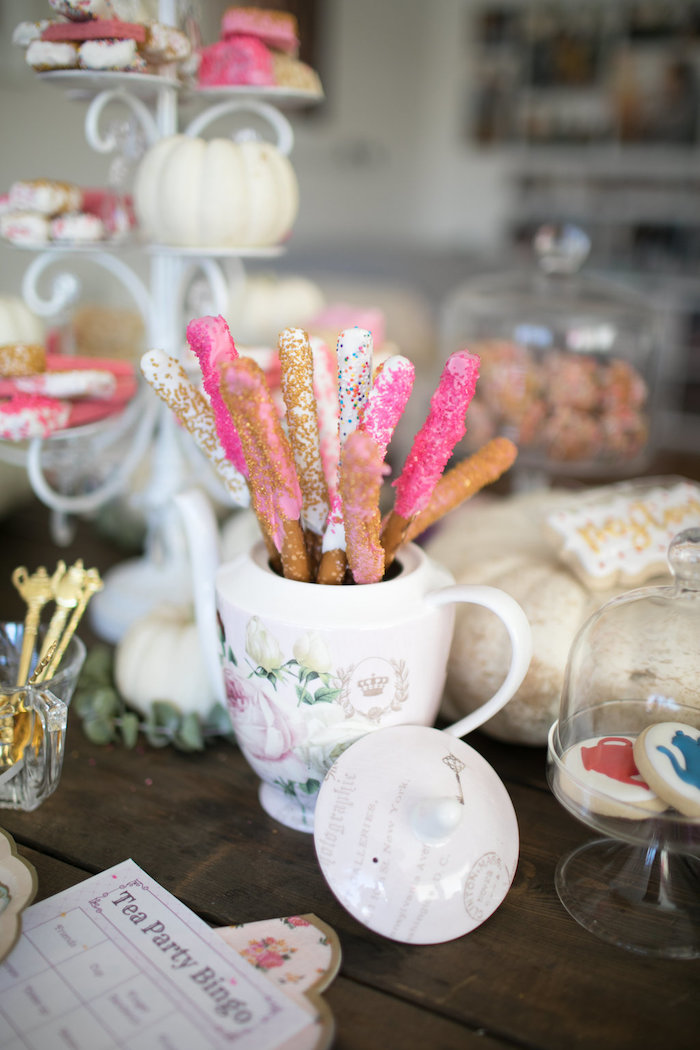 Dipped and sprinkled pretzel rods from a Chic Fall Garden Tea Party on Kara's Party Ideas   KarasPartyIdeas.com (22)