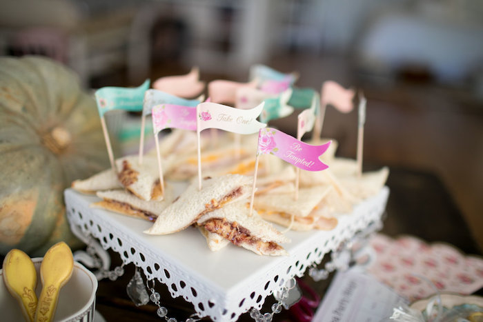Flagged sandwiches from a Chic Fall Garden Tea Party on Kara's Party Ideas   KarasPartyIdeas.com (19)