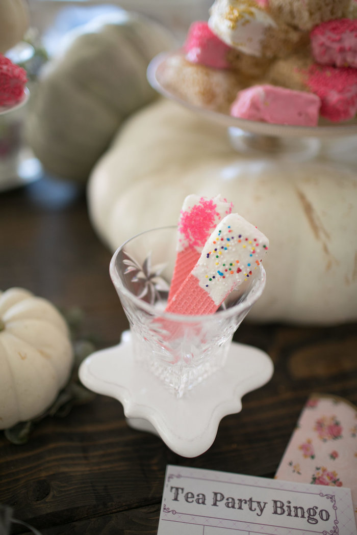 Dipped wafers from a Chic Fall Garden Tea Party on Kara's Party Ideas   KarasPartyIdeas.com (17)
