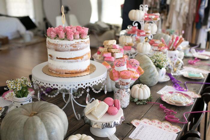 Cakes + tablescape from a Chic Fall Garden Tea Party on Kara's Party Ideas   KarasPartyIdeas.com (11)
