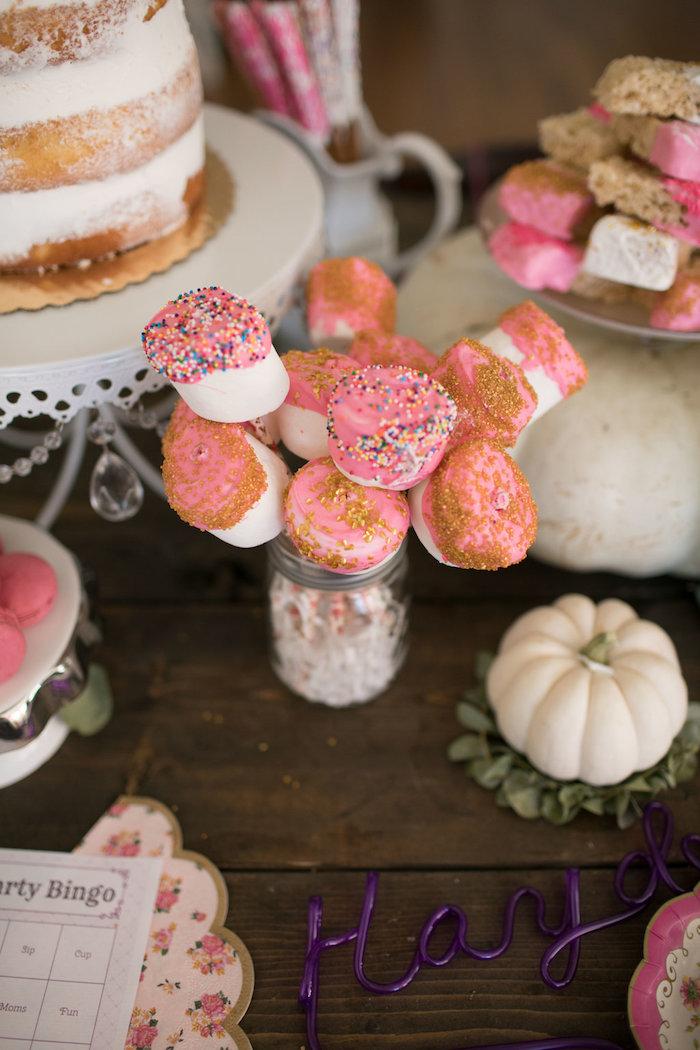 Marshmallow pops from a Chic Fall Garden Tea Party on Kara's Party Ideas   KarasPartyIdeas.com (25)