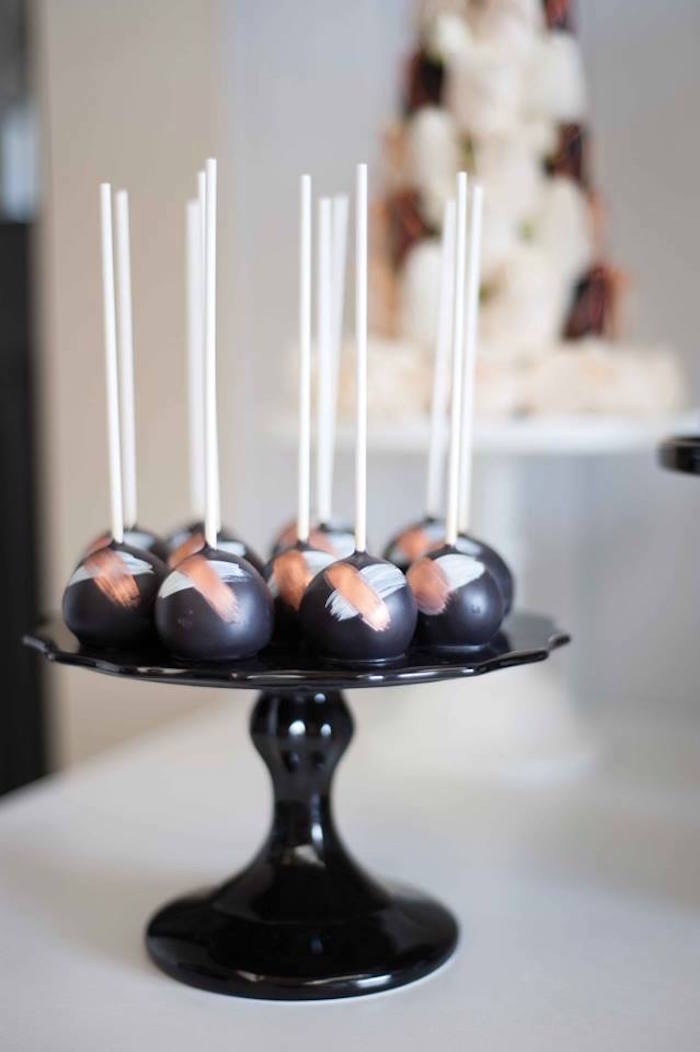 Cake pops from a Copper, Black & White Halloween Party on Kara's Party Ideas | KarasPartyIdeas.com (5)