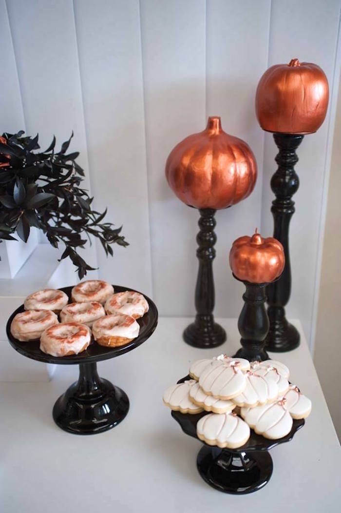 Dessert pedestals and copper pumpkins from a Copper, Black & White Halloween Party on Kara's Party Ideas | KarasPartyIdeas.com (4)