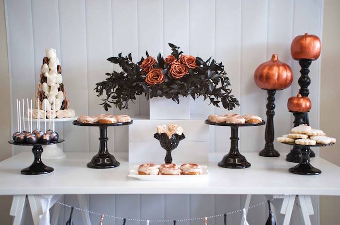 Sweet table from a Copper, Black & White Halloween Party on Kara's Party Ideas | KarasPartyIdeas.com (15)