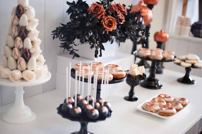 Dessert tablescape from a Copper, Black & White Halloween Party on Kara's Party Ideas | KarasPartyIdeas.com (10)