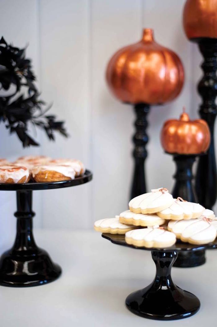 Cookies and doughnuts from a Copper, Black & White Halloween Party on Kara's Party Ideas | KarasPartyIdeas.com (9)