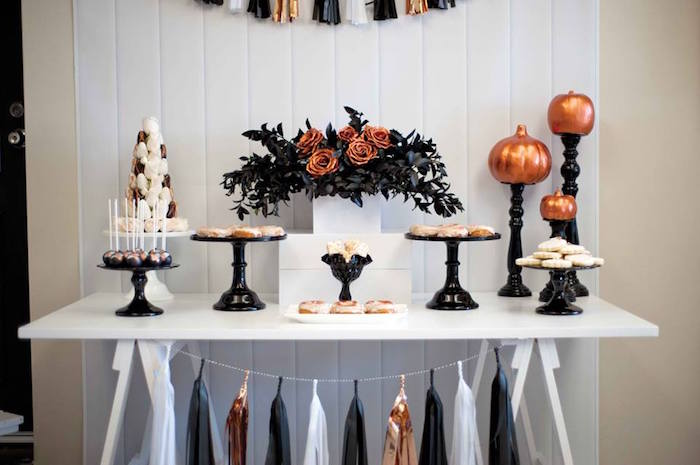 Copper, Black & White Halloween Party on Kara's Party Ideas | KarasPartyIdeas.com (8)