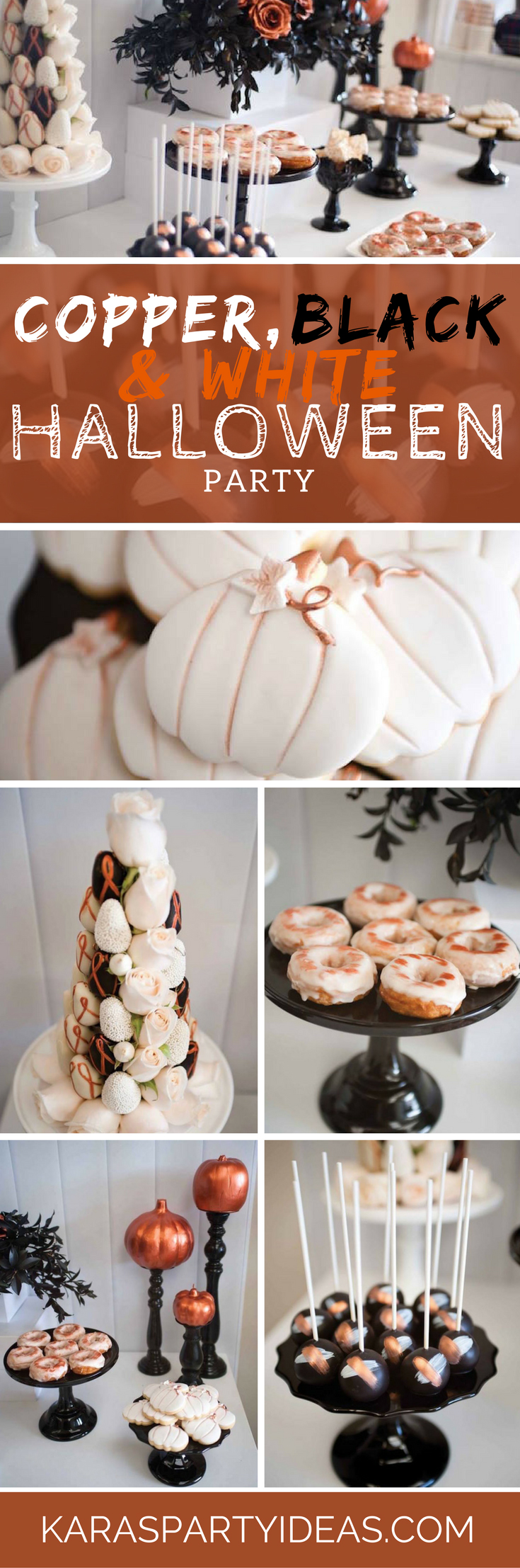 Copper Black White Halloween Party via Kara's Party Ideas - KarasPartyIdeas.com