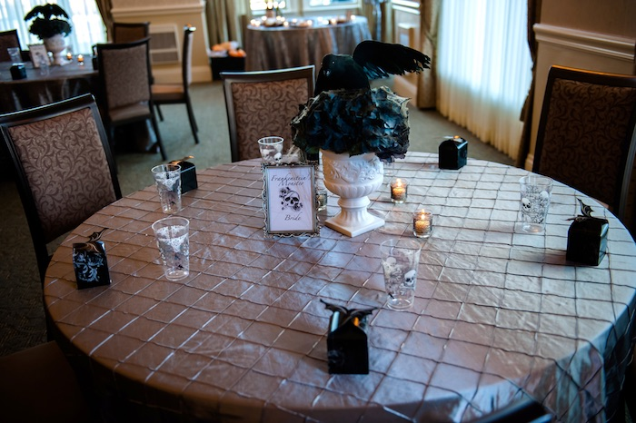 "Guest table from a Corpse Bride ""Vow-lloween"" Wedding Anniversary Party on Kara's Party Ideas 