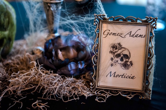 "Skull signage & decor from a Corpse Bride ""Vow-lloween"" Wedding Anniversary Party on Kara's Party Ideas 