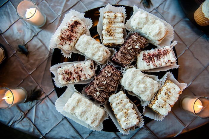 "Dessert bars from a Corpse Bride ""Vow-lloween"" Wedding Anniversary Party on Kara's Party Ideas 
