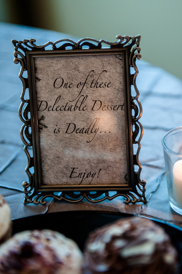 "Sweet table signage from a Corpse Bride ""Vow-lloween"" Wedding Anniversary Party on Kara's Party Ideas 